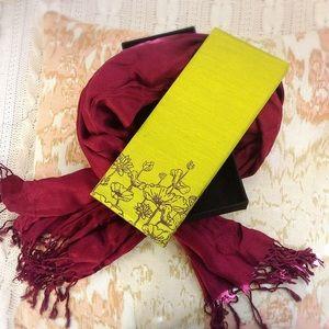 Accessories - Red Pashmina Scarf in Thai Silk Box